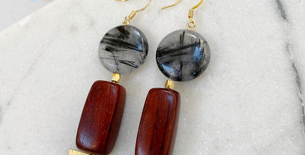 Black Rutilated Quartz + Wood earrings