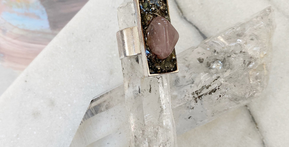 Heart of Gold - Pyrite & Rose Quartz  ring