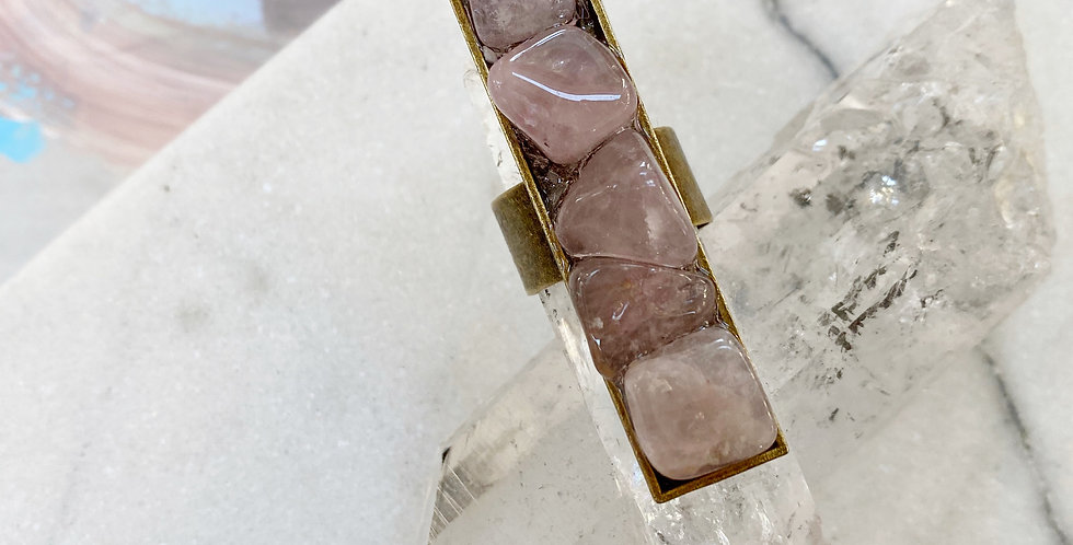Rose Quartz & Selenite Ring