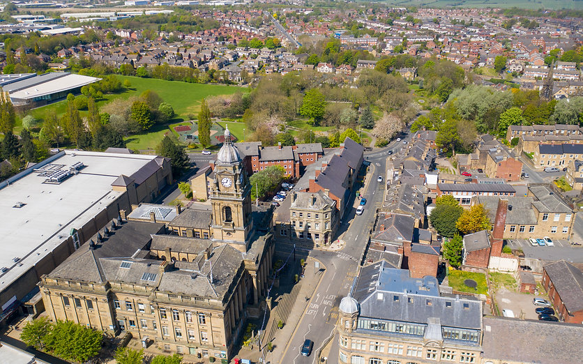 Aerial photo of the village of Morley in Leeds, West Yorkshire in the UK, showing an aeria