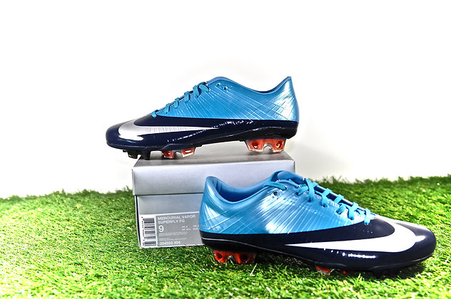 Nike Mercurial Vapor Superfly I Blue Silver Size UK 8 - FG