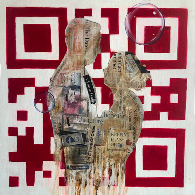 Art Herald Magazine, Dipali, Gupta, Singapore artist, Newspaper artist, News Art, Mixed media art, Love in the Pandemic, Coronavirus Art, Covid Art, Pandemic Art, Covid-19, Conceptual Paintings
