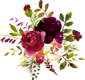 Bold-colored watercolor floral design
