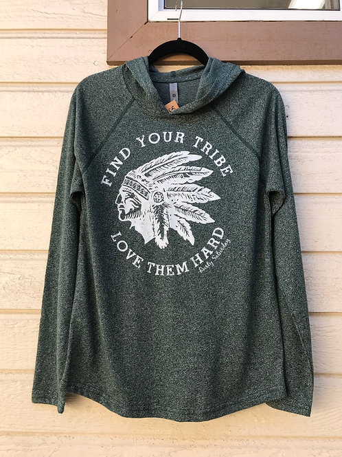 Green Heather Tribe Raglan Hoody