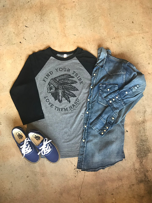 Black and Grey Find Your Tribe Baseball Tee