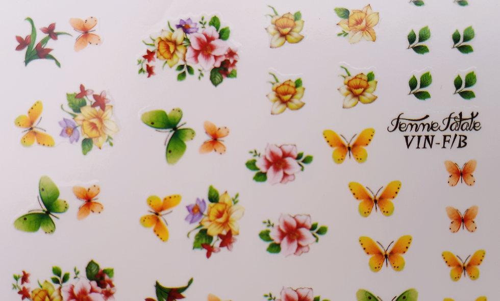 Vintage Flower Bouquet with Butterflies