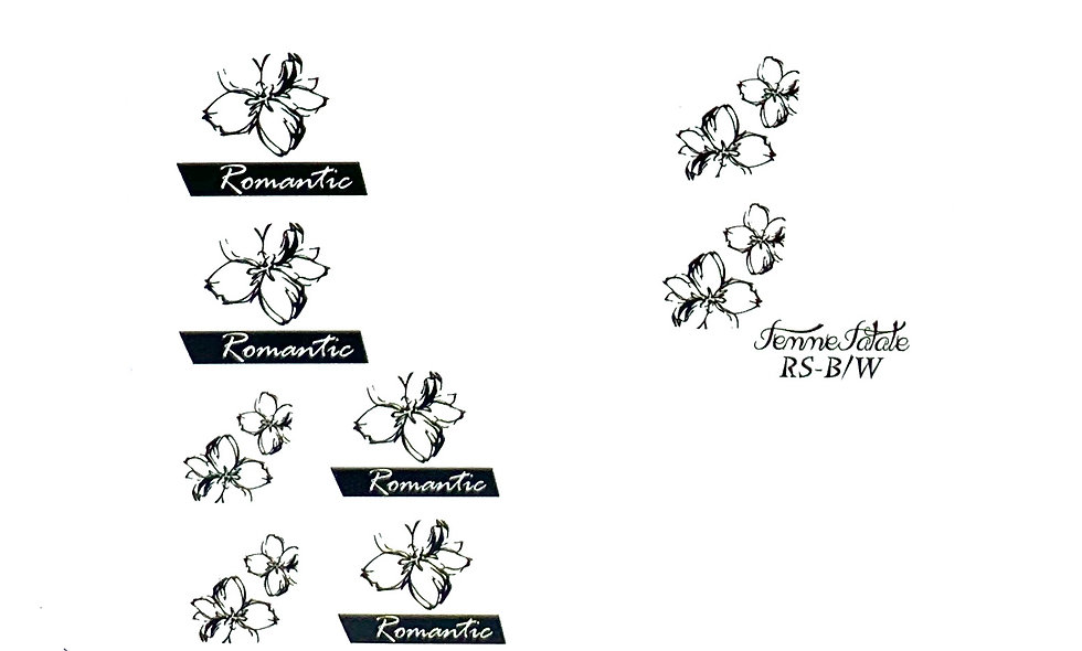 Black and White Stencilled Flowers