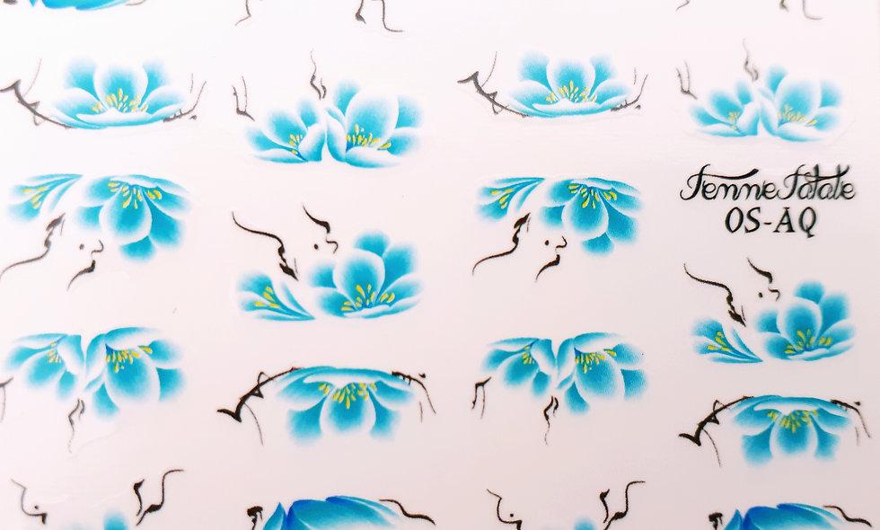 One Stroke Flower - Aqua