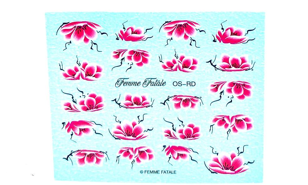 One Stroke Flowers  Red/Raspberry