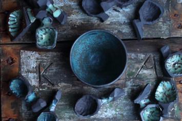Salt cellar and ceramic spoons