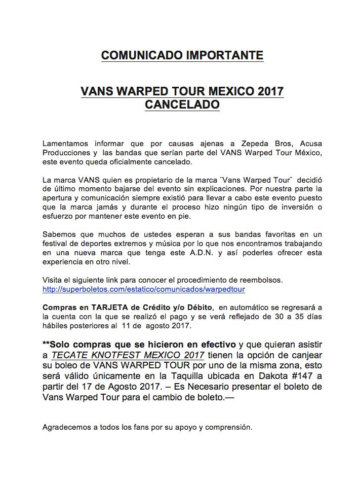 VANS WARPED TOUR MX - CANCELADO