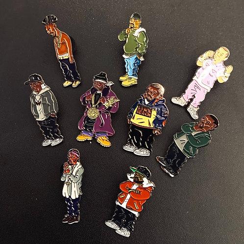 Full Wu-Tang Clan Pin Set (RARE All 9 Members)