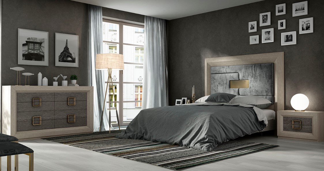 cabecero tapizado en tejido gris