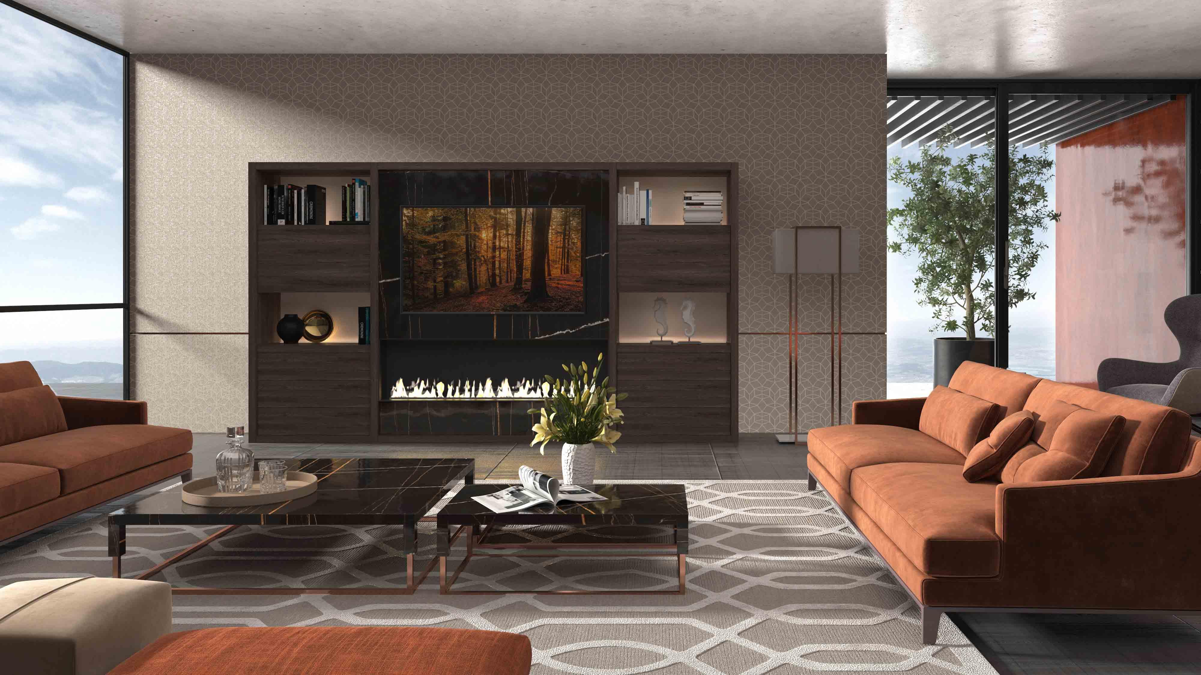 Mueble TV con chimenea y marmol def