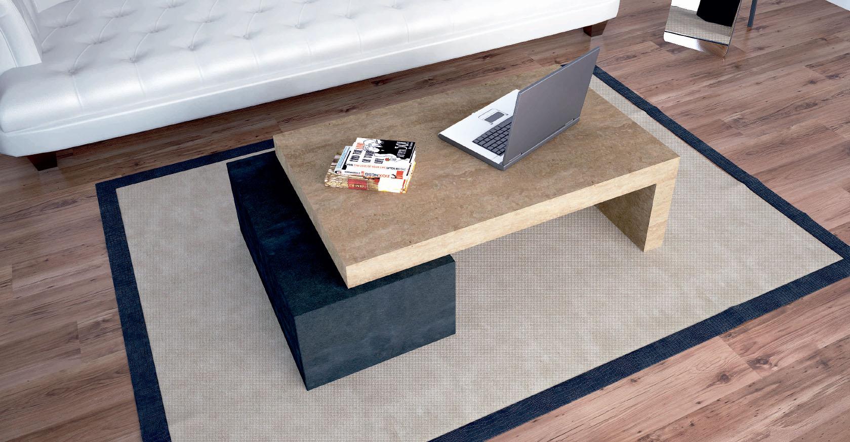 mesa de centro de marmol y pizarra