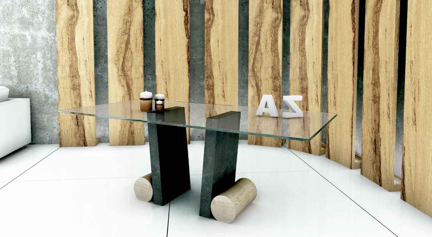 Mesa de cristal y marmol