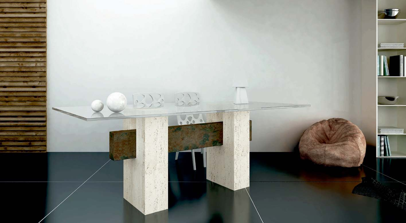 mesa de comedor de marmol travertino