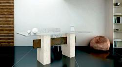 mesa de comedor de marmol travertino