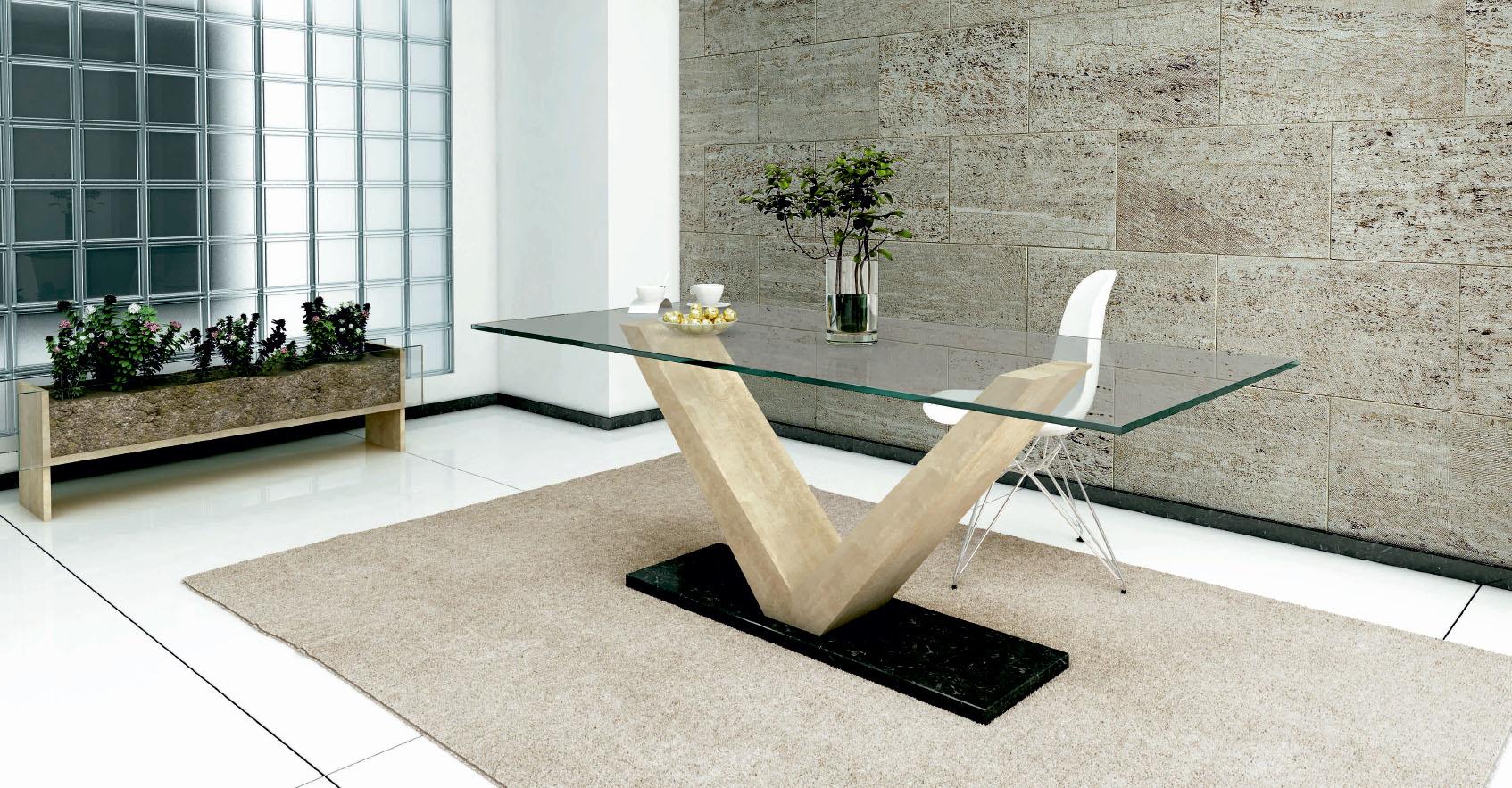 Mesa con pie de Piedra Natural