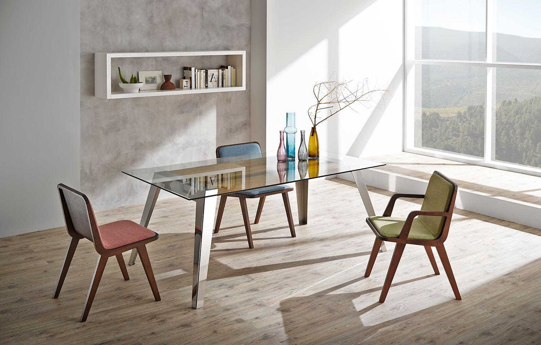 mesa acero con cristal