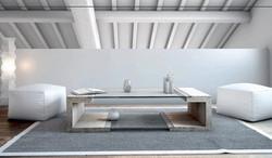 mesa de centro en marmol travertino