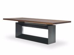 mesa madera y pie metalico