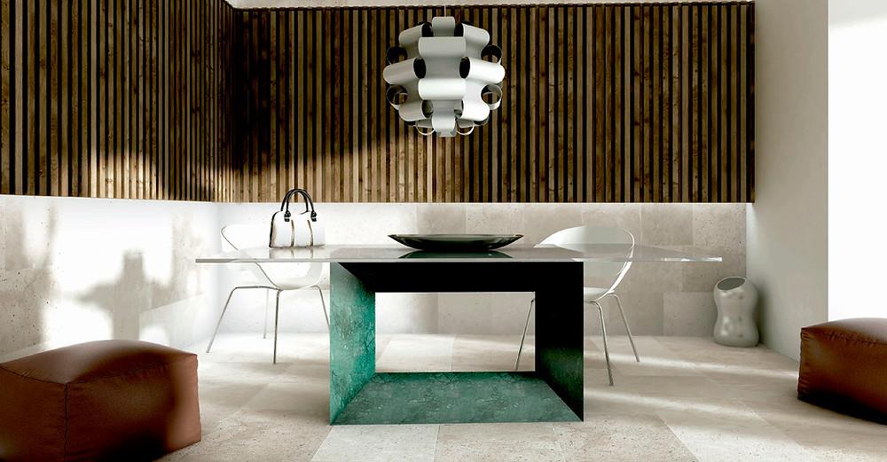 Mesa de comedor de mármol y tapa de cristal