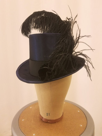 Buckrum Women's Riding Hat with Velvet Flowers & Ostrich Plumes