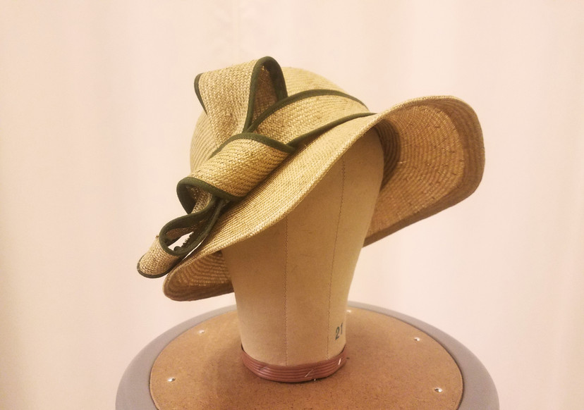 Stretched Straw Sun Hat with Cotton Trimmed Bow