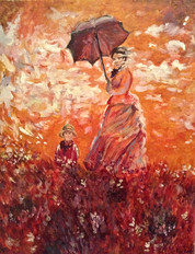 """Reproduction of Monet's """"Woman with a Parasol"""""""