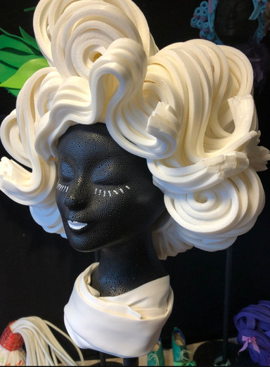 Foam wigs constructed by etsy seller, Allemaal Tejater.