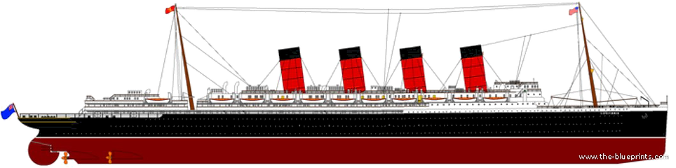 RMS Mauretania Elevation Drawing