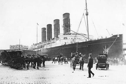 RMS Lusitania steam ship ocean liner docked port