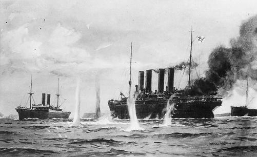 WWI battle between HMS Highflyer and SS Kaiser Wilhelm der Grosse ocean liner