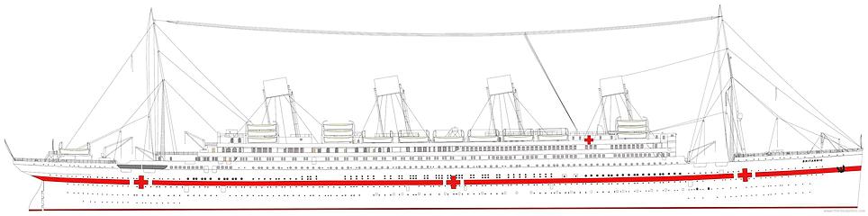 HMHS Brittanic Elevation drawing