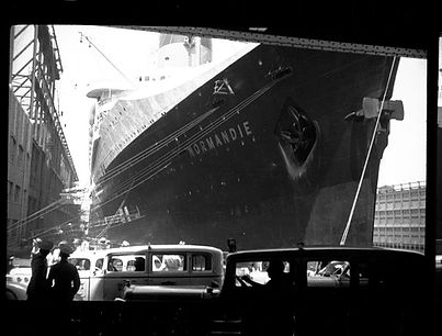 SS Normandie docked in New York City 1930s