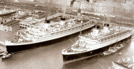 SS Rex SS Conte di Savoia steam ship ocean liner docked in port NYC