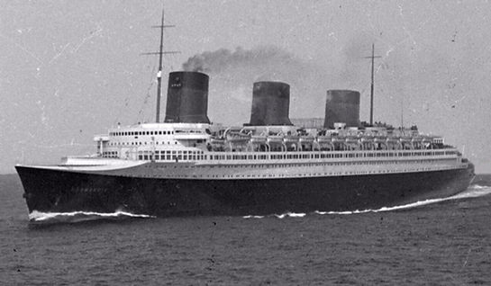 SS Normandie steam ship ocean liner sailing at sea