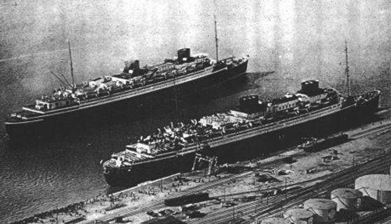 SS Bremen SS Europa steam ship ocean liner in port