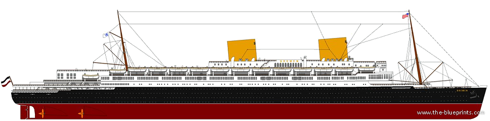 SS Bremen Elevation Drawing