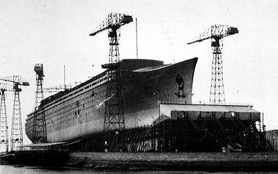 SS Normandie under construction at Saint Nazaire shipyards