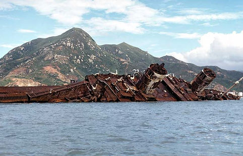 RMS Queen Elizabeth Seawise University wreckage