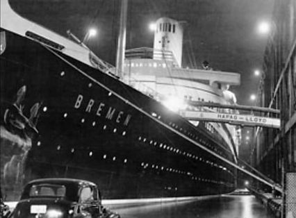 SS Bremen seaplane mail innovation steam ship ocean liner
