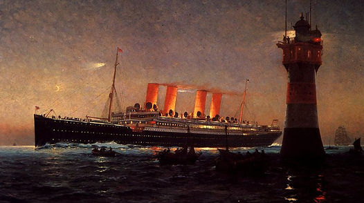 Sailing into harbor at night, SS Kaiser Wilhelm der Grosse ocean liner painting