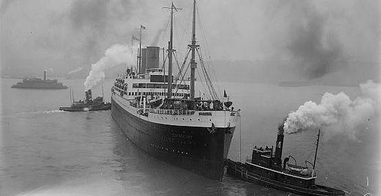 SS Hansa entering port, former SS Deutschland