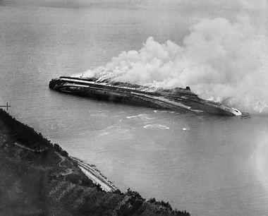 SS Rex WWII attack fire ocean liner steam ship
