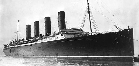 RMS Lusitania steam ship ocean liner sailing into port