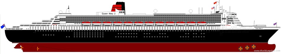 RMS Queen Mary 2 elevation drawing blueprint
