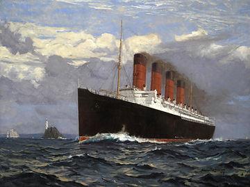 RMS Lusitania steamship ocean liner painting