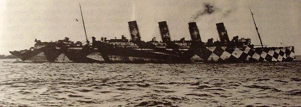 RMS Mauretania WWI dazzle paint camoflauge